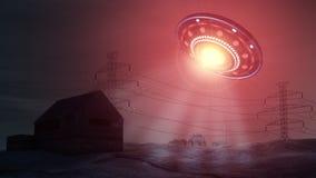 UFO enlevant une maison Photos stock
