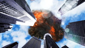 UFO explodes in the sky over skyscrapers. 3D Rendering stock footage