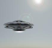 ufo för tolkning 3D Rymdskeppet mot himlen royaltyfri illustrationer