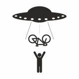 UFO-Fahrradabduktion Lizenzfreies Stockfoto