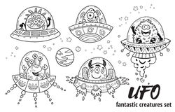 UFO. Fantastic creatures set in outline. Vector illustration. Coloring book. Vector ink alien monsters in the spaceships. UFO in cartoon style. Coloring book royalty free illustration