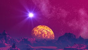 UFO and fantastic planet. The mountain landscape of a fantastic planet is painted in red color. Over the horizon a major yellow planet. In the star sky the UFO stock footage