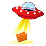 UFO File Upload Icon. File folder icon on retro flying saucer UFO with light beam. Suitable for use on the web, in print, and on promotional materials Stock Images