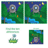 UFO Find 10 differences. Educational game for children. Cartoon vector illustration Stock Images