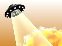 UFO fire light sucking wave isolated. Isolated undefined flying disc in sky and beaming a strong teleporting field. Sucking or attack something Royalty Free Stock Photo