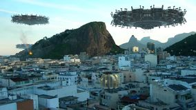 UFO fleet invading Rio De Janeiro. UFO mothership, fleet and drones, above buildings in Rio de Janeiro, Brazil, for futuristic, fantasy, interstellar travel or stock footage
