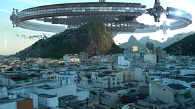 UFO fleet invading Rio De Janeiro. UFO wheel-shaped mothership, above buildings in Rio de Janeiro, Brazil, for futuristic, fantasy, interstellar travel or war stock video