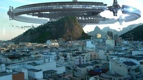 UFO fleet invading Rio De Janeiro stock video