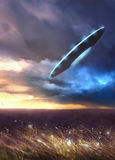 UFO. Flies over the field in a thunderstorm stock illustration