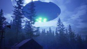 UFO flies over the forest and scans the house. 3D Rendering