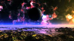 UFO Fly Around Alien Planet. Bright blue luminous objects fly around the planet. In the dark starry sky, colorful nebulae. The mountains reflect a bright light stock footage