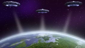 UFO flying above earth. UFO invasion above earth. NASA image used stock video