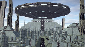 UFO flying above futuristic pyramid city. An image of an UFO flying above a futuristic pyramid city. A fiction alien spaceship hoovering above a fantasy skyline vector illustration