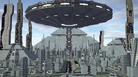 UFO flying above futuristic pyramid city 4K. An animation of an UFO flying above a futuristic pyramid city. A fiction spaceship flying above a fantasy skyline stock video footage