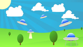 UFO flying above trees Royalty Free Stock Image