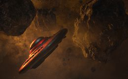 UFO in space 3d render. UFO flying through the asteroid field 3d render Stock Photography
