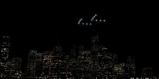 Ufo flying over a huge city stock illustration