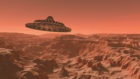 UFO flying over the Mars, Alien intergalactic saucer. The surface of the red planet Mars, UFO flying over the Mars, Alien intergalactic saucer, a 3d render of royalty free illustration