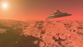 UFO flying over the Mars, Alien intergalactic saucer. The surface of the red planet Mars, UFO flying over the Mars, Alien intergalactic saucer, a 3d render of stock illustration