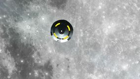 UFO is flying over the Moon, Abstract Background 3D rendering stock illustration
