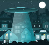 UFO flying over the night city stock illustration