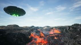 UFO is flying over the volcano. 3D Rendering. stock images