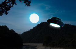 UFO. Flying.The photograph is prepared using 3D rendering and Gaussian noise distribution in image processing software and coding. It consists of 10 layers Stock Photos