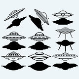 UFO flying saucer set icon Royalty Free Stock Photo