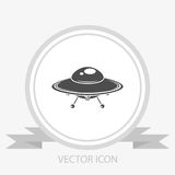 UFO. Flying saucer vector icon Royalty Free Stock Images