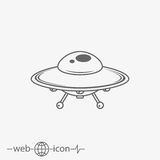 UFO. Flying saucer vector icon Royalty Free Stock Photos
