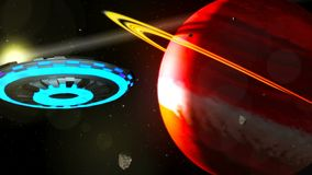 UFO Flying Through Space, Abstract Background 3D rendering. UFO Flying Through Space, HD Abstract Background Royalty Free Illustration