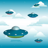 Ufo formation. Colorful background with ufo formation floating between clouds in the sky Stock Images