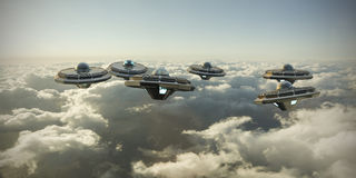 Ufo in formation Stock Photography