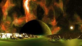 ufo, främmande planet och solnedgång stock video