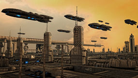 UFO futurista de la nave espacial Foto de archivo