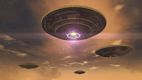 ufo futuristic spaceship royaltyfri illustrationer