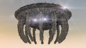 UFO. Futuristic spaceship. Royalty Free Stock Photography