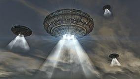 UFO. Futuristic spaceship. Royalty Free Stock Photos