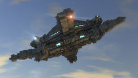 UFO. Futuristic spaceship. Unidentified flying object. Futuristic spaceship and house Stock Image