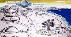 Ufo futuristic world cartoon animation. Sci-fi world with alien flying starship Cartoon animation stock video footage