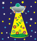 UFO and glade of flowers. Illustration. vector Royalty Free Stock Images