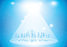 Ufo with greys vector illustration