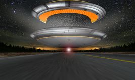 UFO on Highway Royalty Free Stock Photo