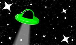ufo i den stjärnklara himlen Fotografering för Bildbyråer
