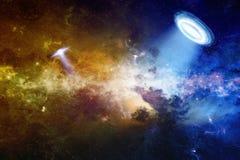 ufo i djupt utrymme Arkivfoton