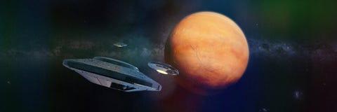 Ufo i omlopp av den röda planeten fördärvar illustrationbanret för utrymme 3d, beståndsdelar av denna bild möbleras av NASA Arkivfoton