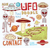 Ufo icon, hand drawn  illustration. Royalty Free Stock Photo