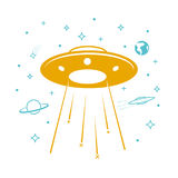 UFO icon in the starry sky Stock Photography