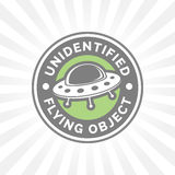 UFO icon. Unidentified flying object badge. Flying saucer spaces Stock Photos