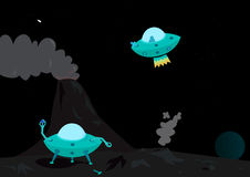UFO illustration. An illustration of a pair of UFO's in the night sky Royalty Free Stock Images